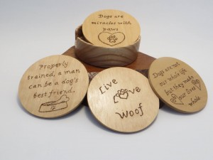 Set of four coasters with Doggy quotes